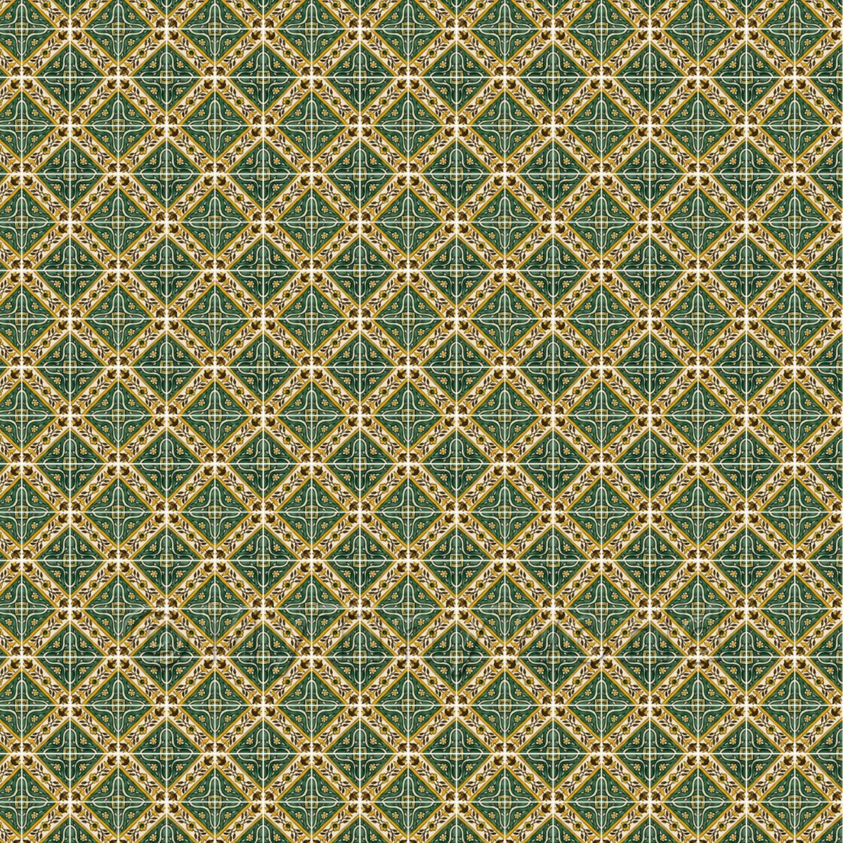 1:24th Green Star With Flower Border Tile Sheet With White Grout