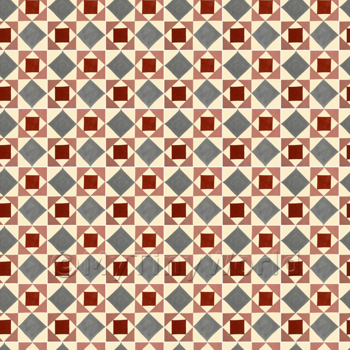 1:24th Large Red And Grey Geometric Design Tile Sheet With White Grout