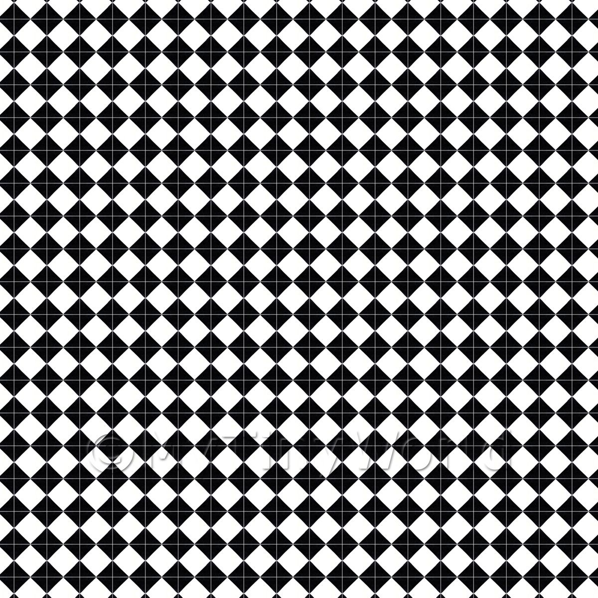 1:24th Classic Small Black And White Diamond Design Tile Sheet
