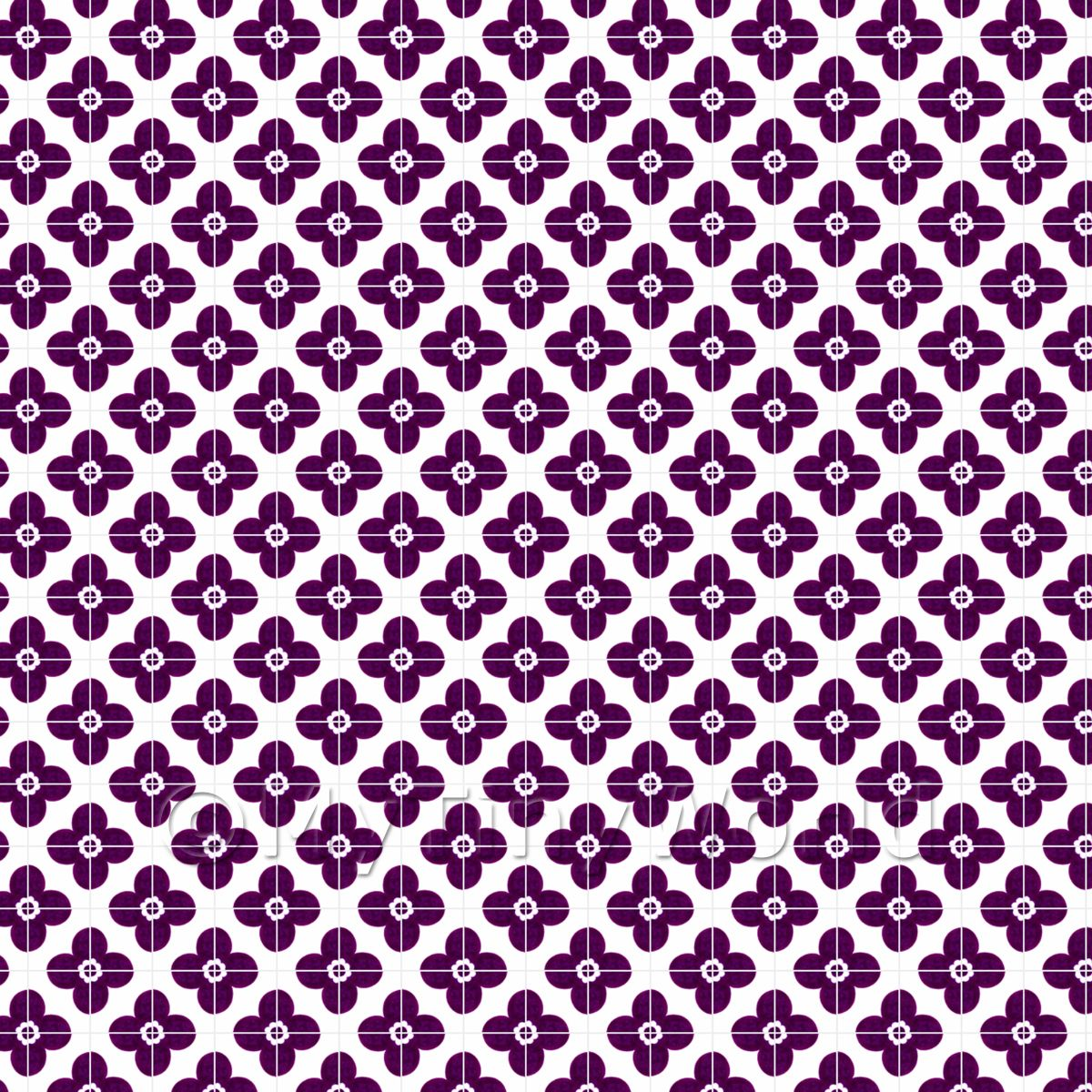 1:24th Purple Flower Design Tile Sheet With Pale Grey Grout