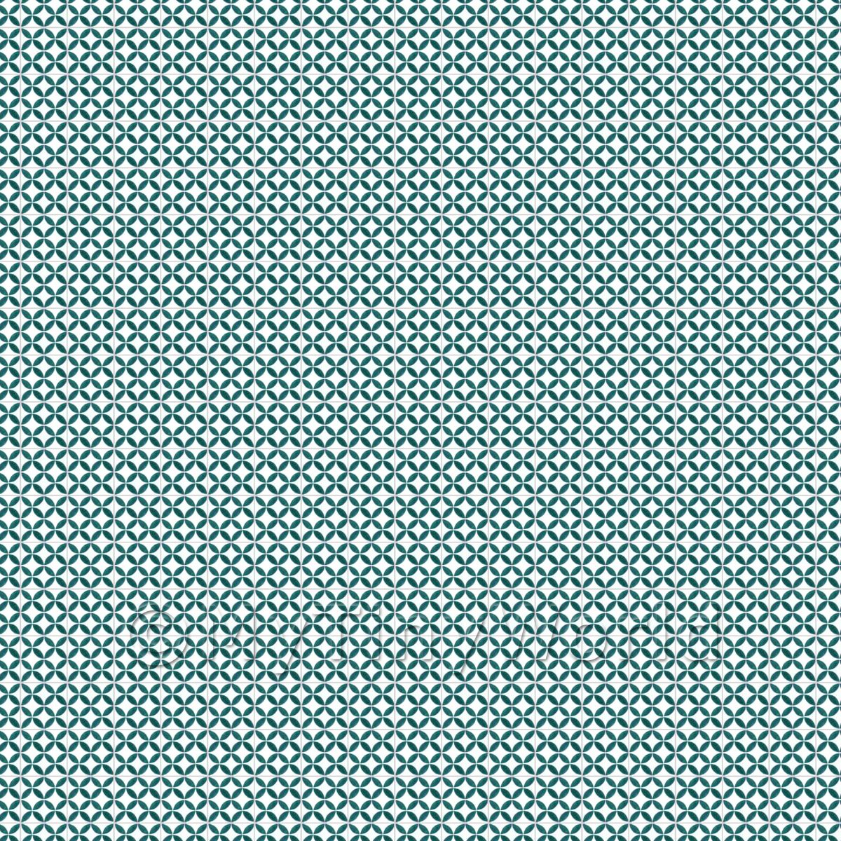 1:24th Sea Green Geometric Circle Design Tile Sheet With Grey Grout