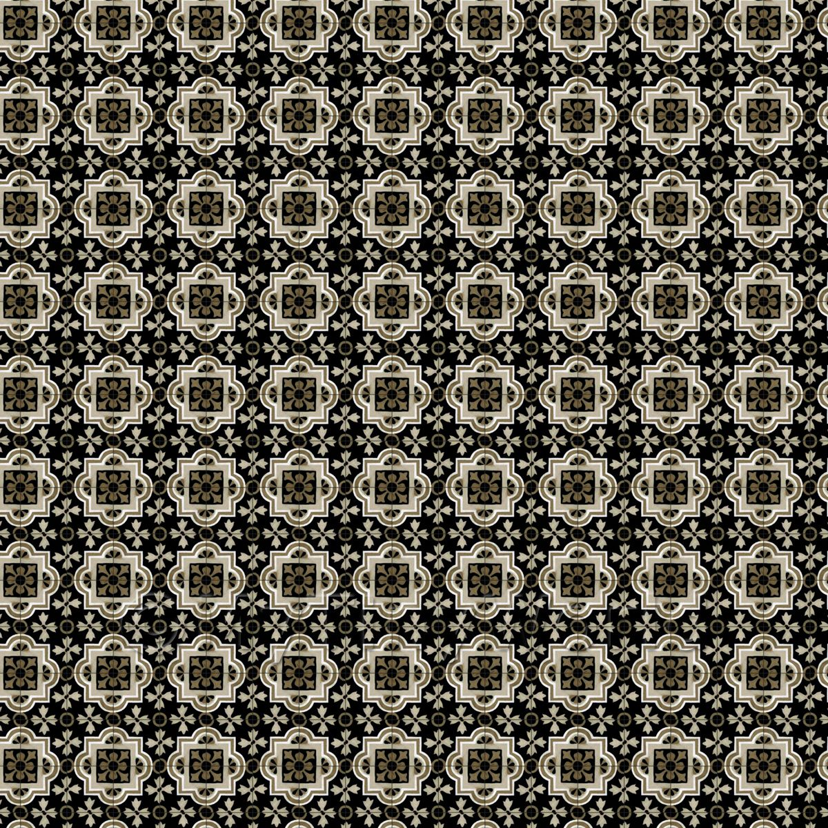 1:24th Shades Of Brown And Black Ornate Pattern Tile Sheet