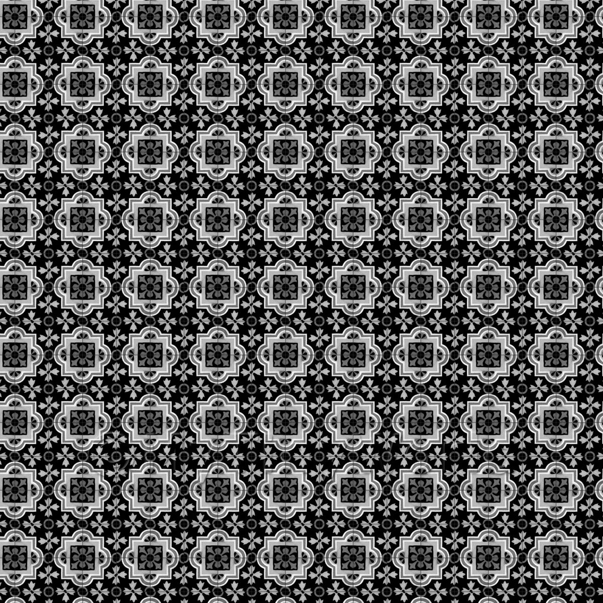 1:24th Black Backed Grey Ornate Design Tile Sheet With Black Grout