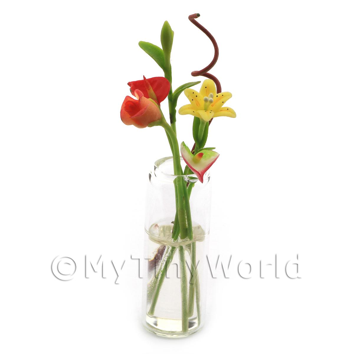 Miniature Mixed Cut Flowers in a Glass Vase