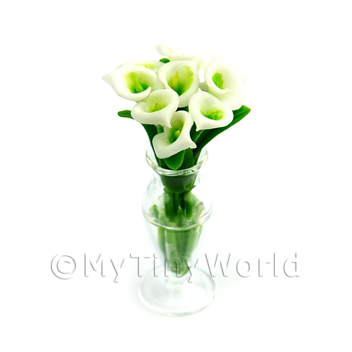 9 Dolls House Miniature Cut Calla Lilies in a Glass Vase