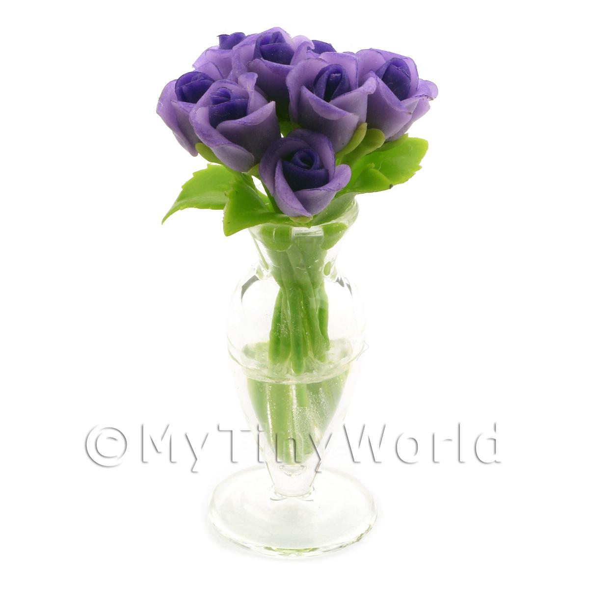 9 Miniature Violet   Purple Roses in a Glass Vase