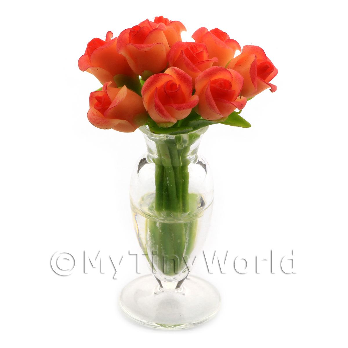 9 Miniature Orange   Red Roses in a Glass Vase