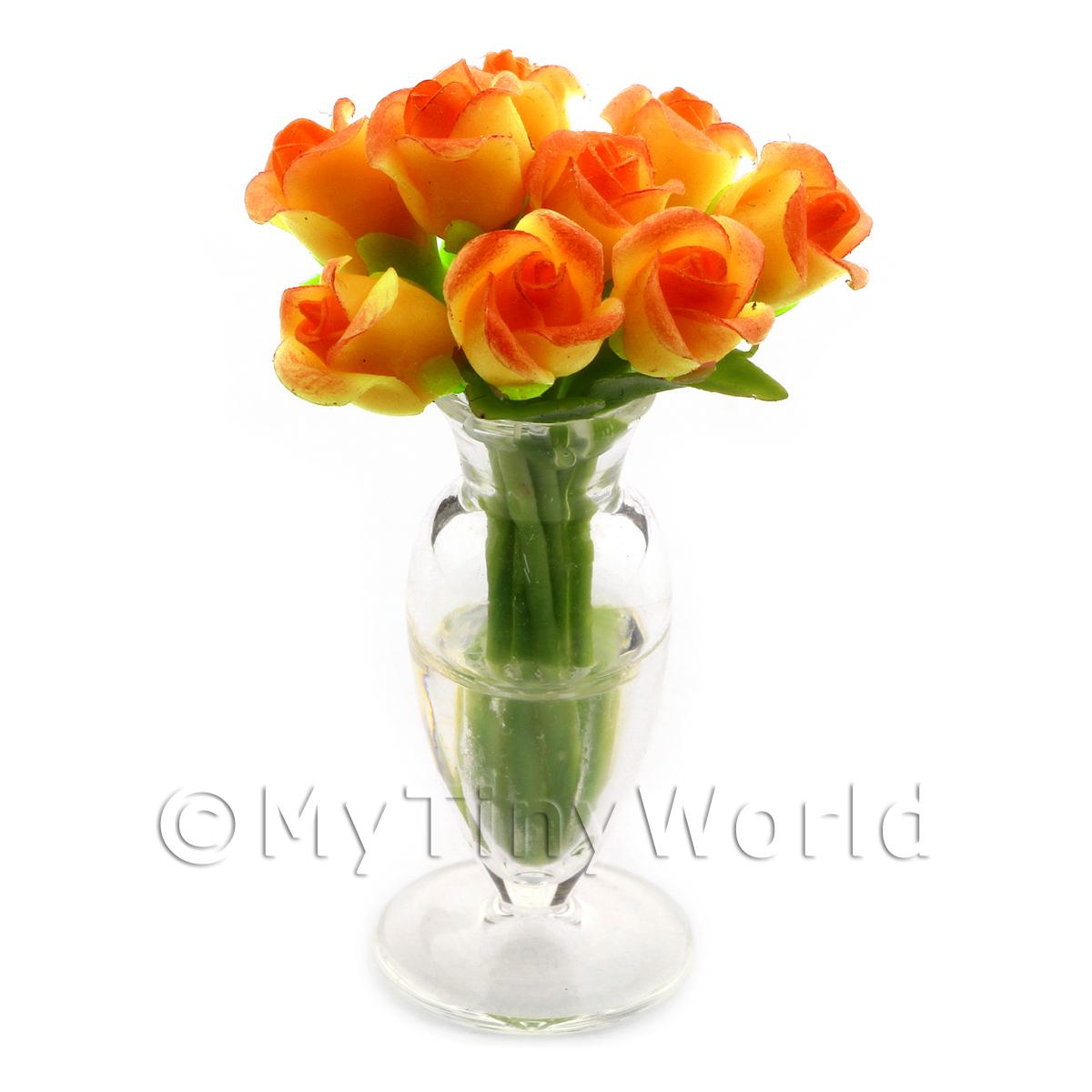 9 Miniature Yellow   Red Roses In A Glass Vase