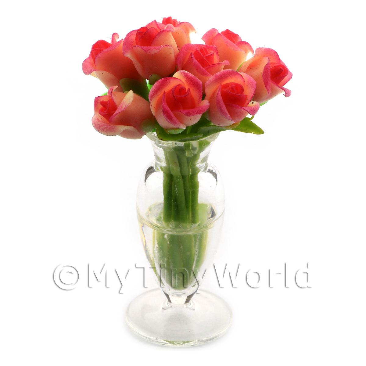 9 Miniature Pink   Red Roses in a Glass Vase