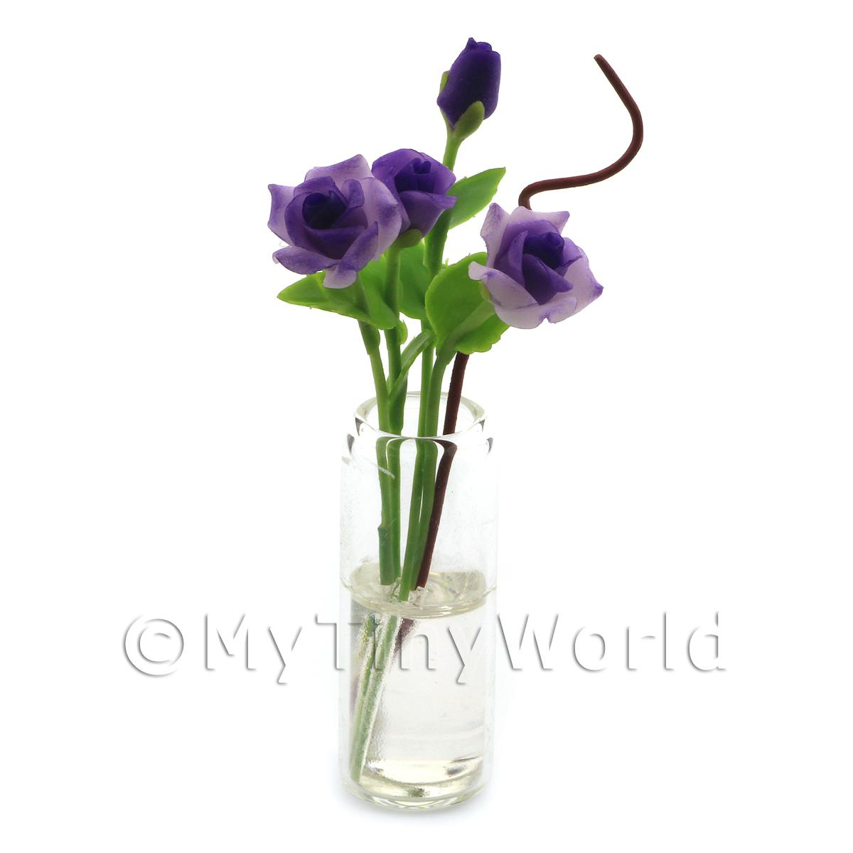 4 Miniature Long Stemmed Purple Roses in a Glass Vase
