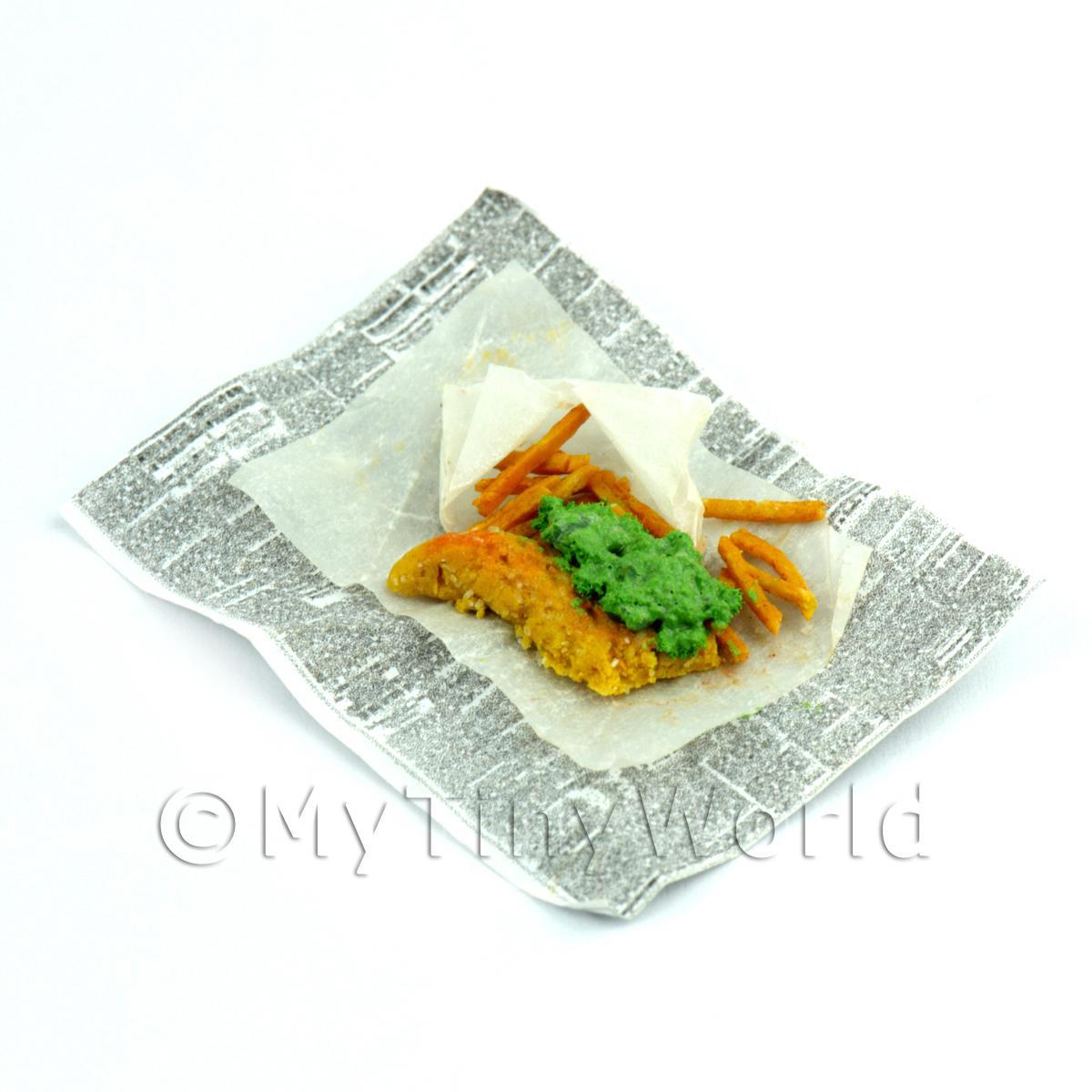 Tiny Kitchen Fish And Chips: Dolls House Miniature Chip Shop - Dolls House Miniature Fish, Chips And Mushy Peas