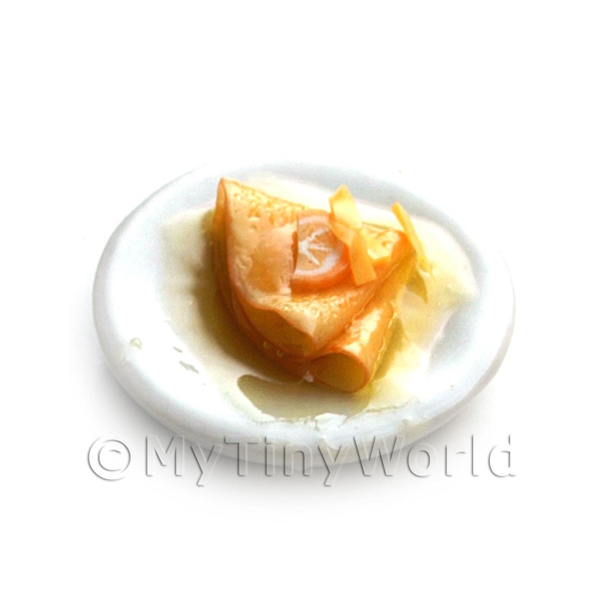 Dolls House Miniature Folded Pancakes Drizzled with Orange Syrup