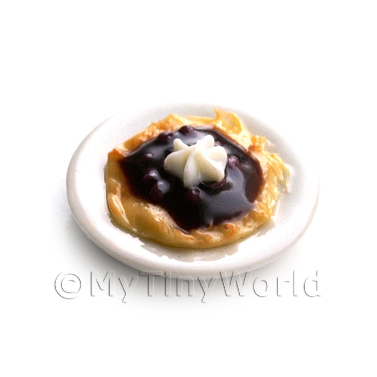 Dolls House Miniature Pancakes Topped with Black Cherries and Cream