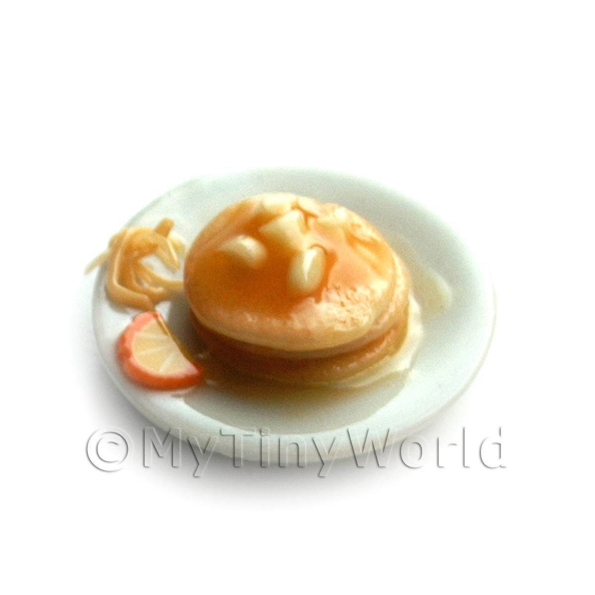 Dolls House Miniature Orange and Almond Topped Pancakes