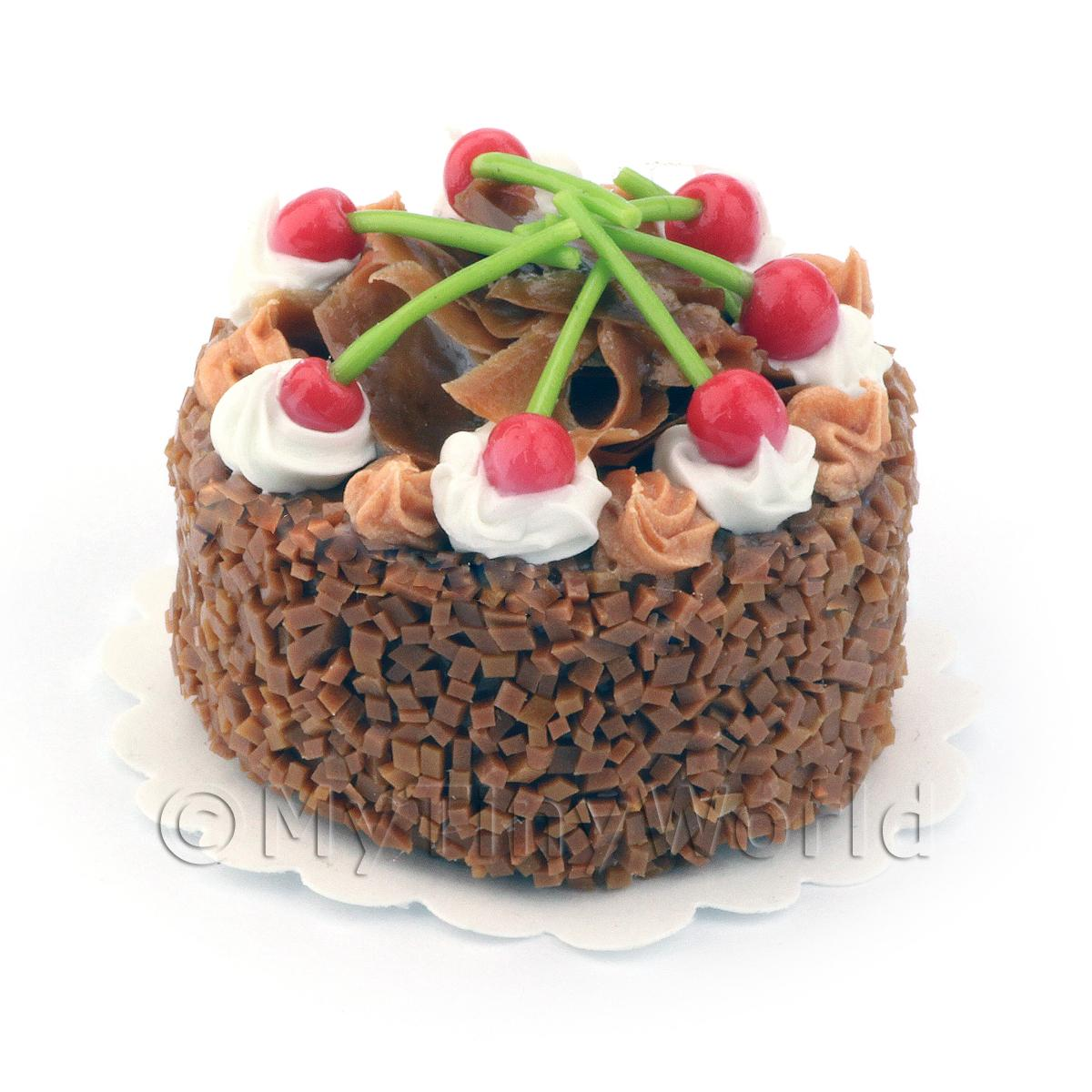 Dolls House Miniature Cherry Fudge Cake