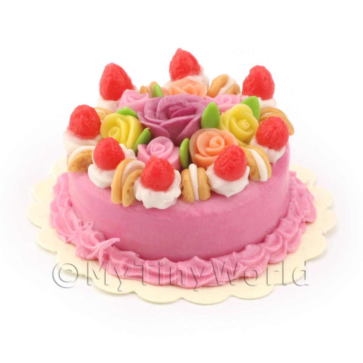 Dolls House Miniature Rose Gateaux