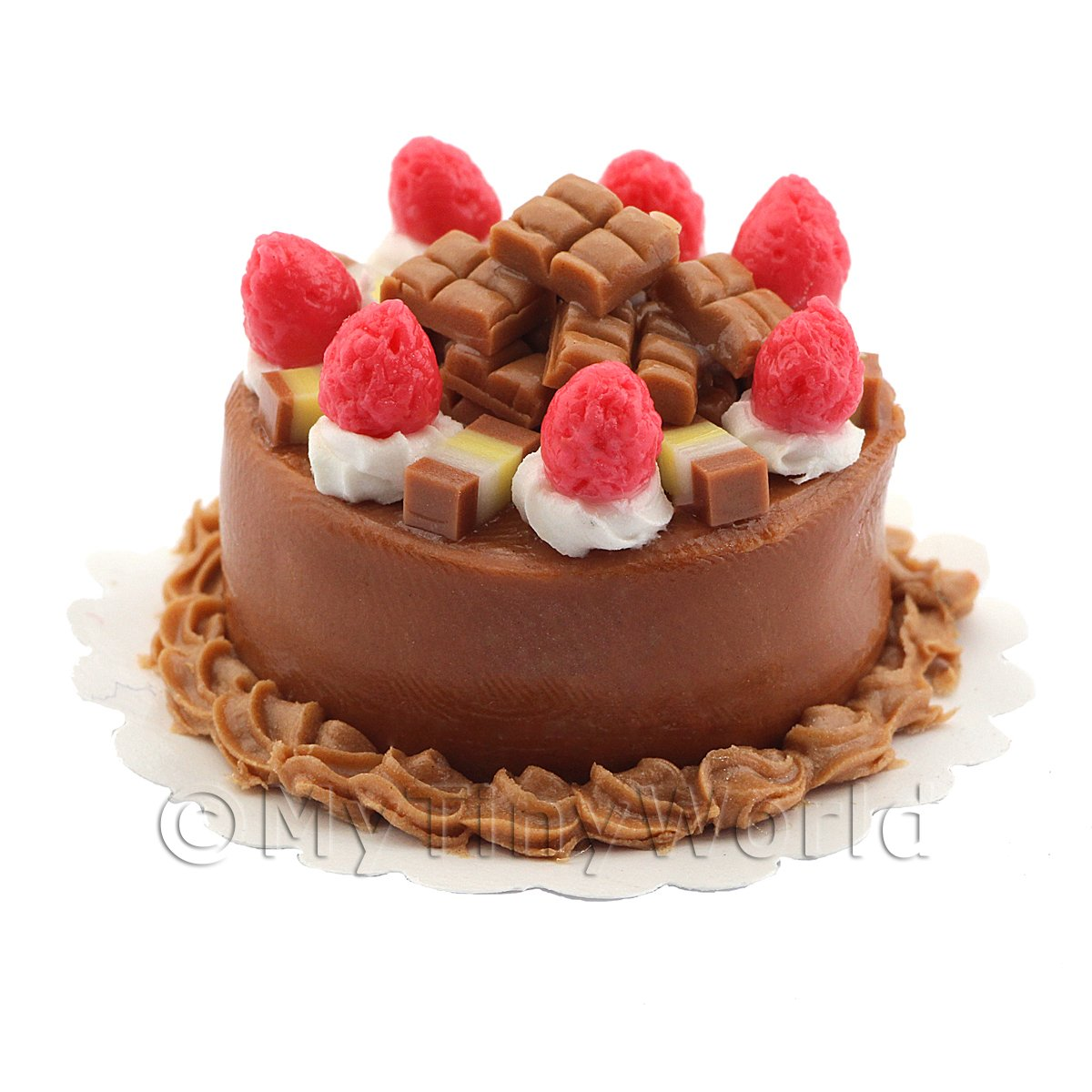 Dolls House Miniature Chocolate Strawberry Fudge Cake