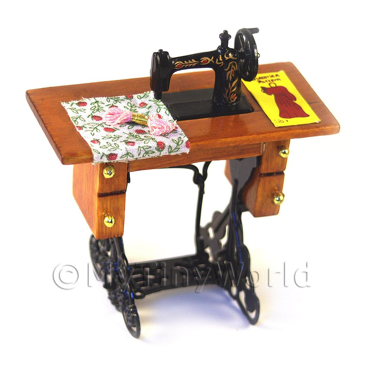 Dolls House Miniature Sewing Machine, Table And Accessories