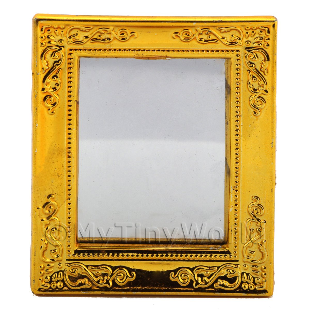Dolls House Miniature Gilt-Edged Bright Gold Plastic Mirror