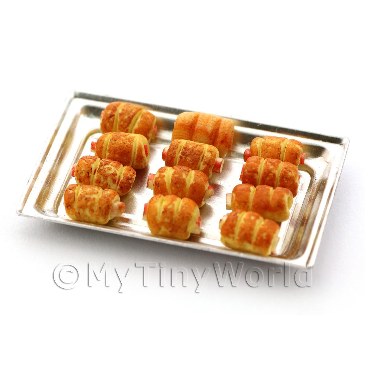 Dolls House Miniature Sausage Rolls  On A Metal Tray