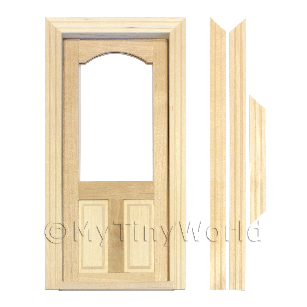 Dolls House Decorative Wood Door With Glazed Upper Panel