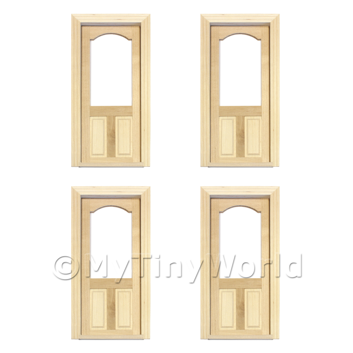 4 x Dolls House Decorative Wood Door With Glazed Upper Panel
