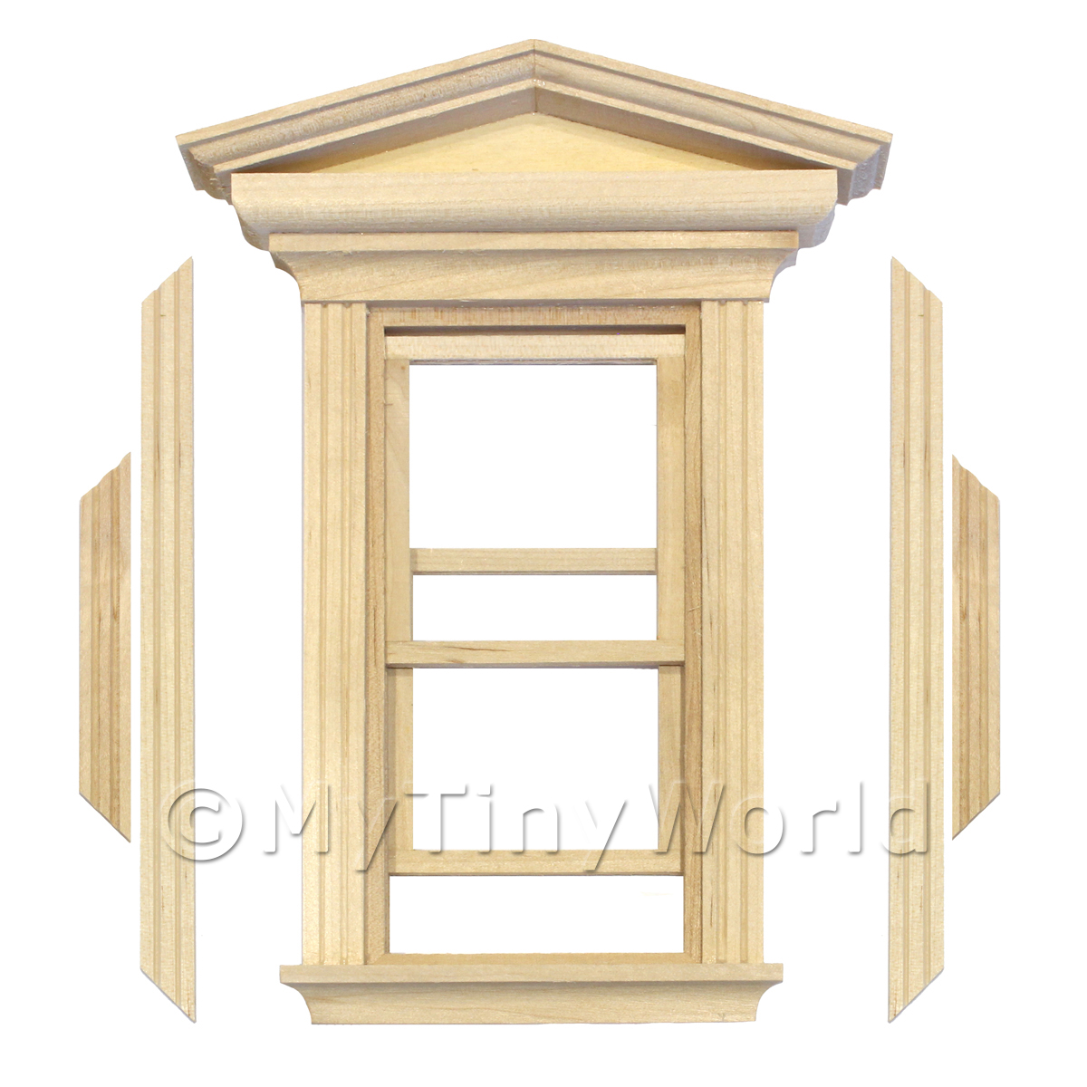 Dolls House Single Opening Sash Window With Pointed Parapet