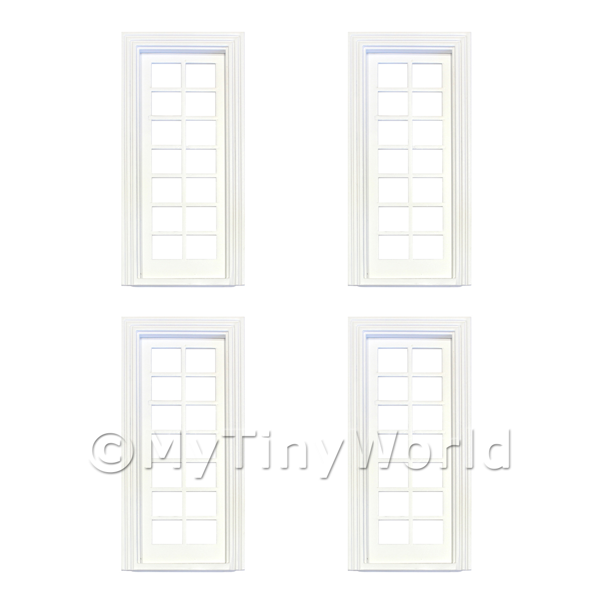 4 x Dolls House White Painted Internal 14 Pane Glazed Door
