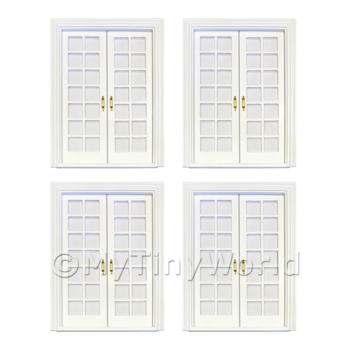 4 x Dolls House White Painted Double Internal 14 Pane Glazed Doors