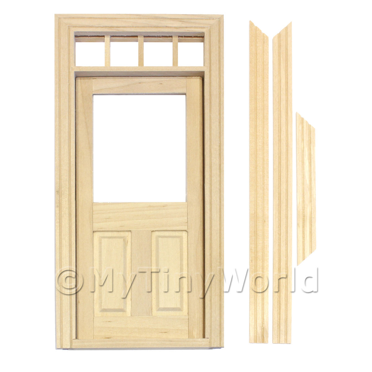 Dolls House Decorative Wood Door With Glaze Pane And 4 Open Panes
