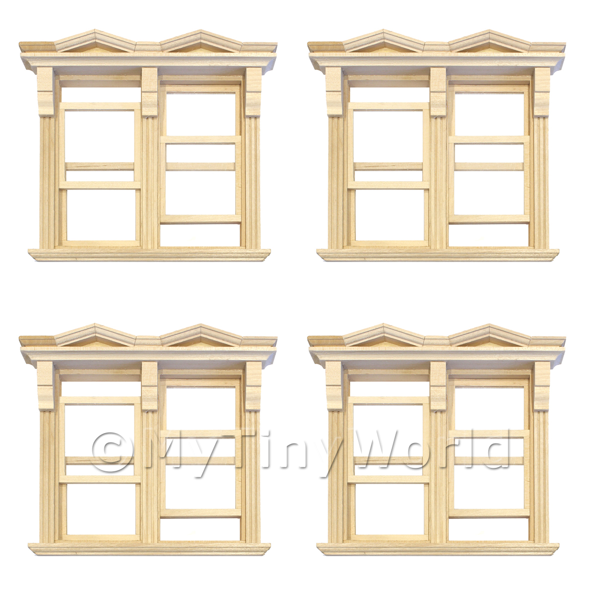 4 x Dolls House Double Opening Sash Window With Small Pointed Parapets