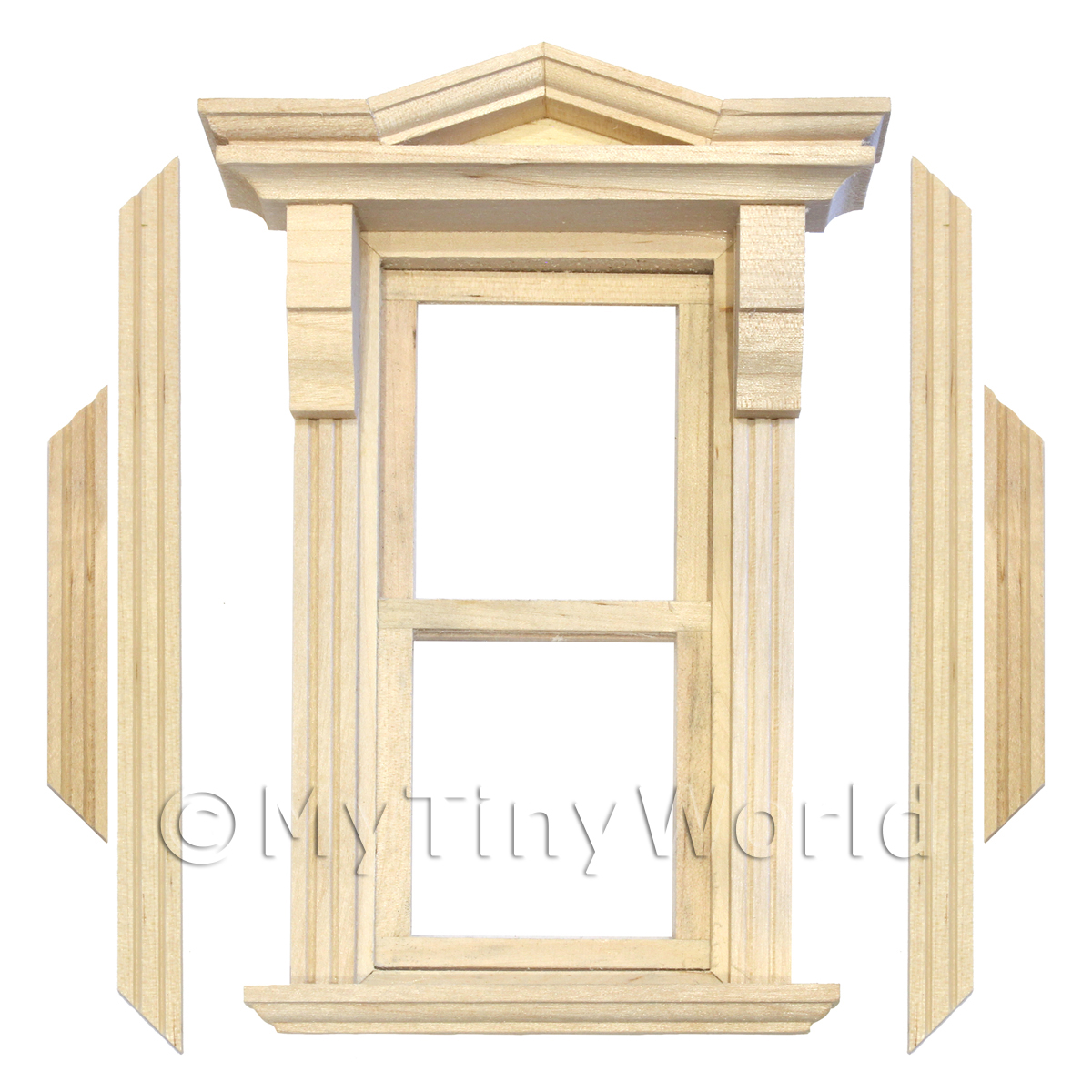 Dolls House Single Opening Sash Window With Small Pointed Parapet
