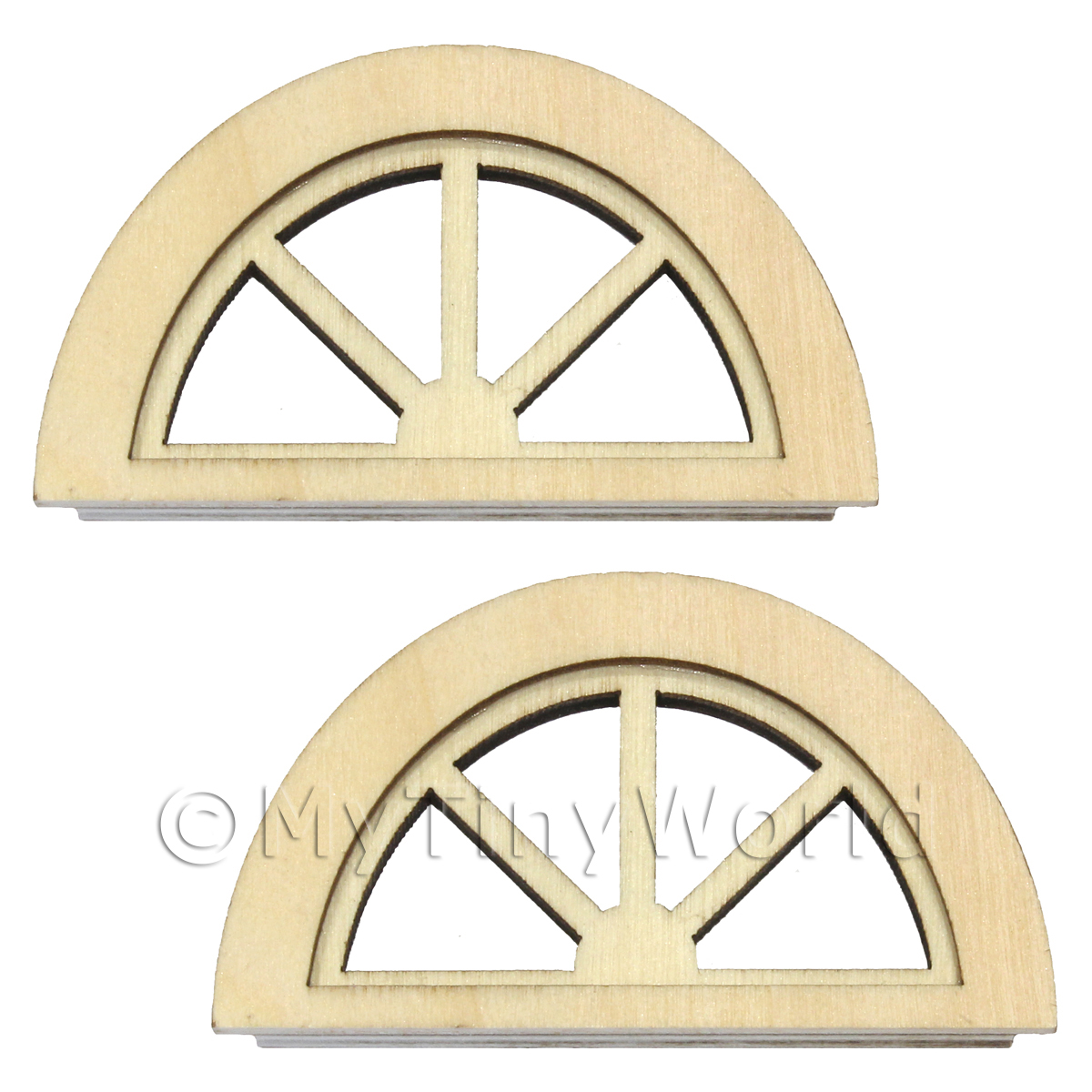 Pair Of Dolls House Miniature Wood Half Moon Windows