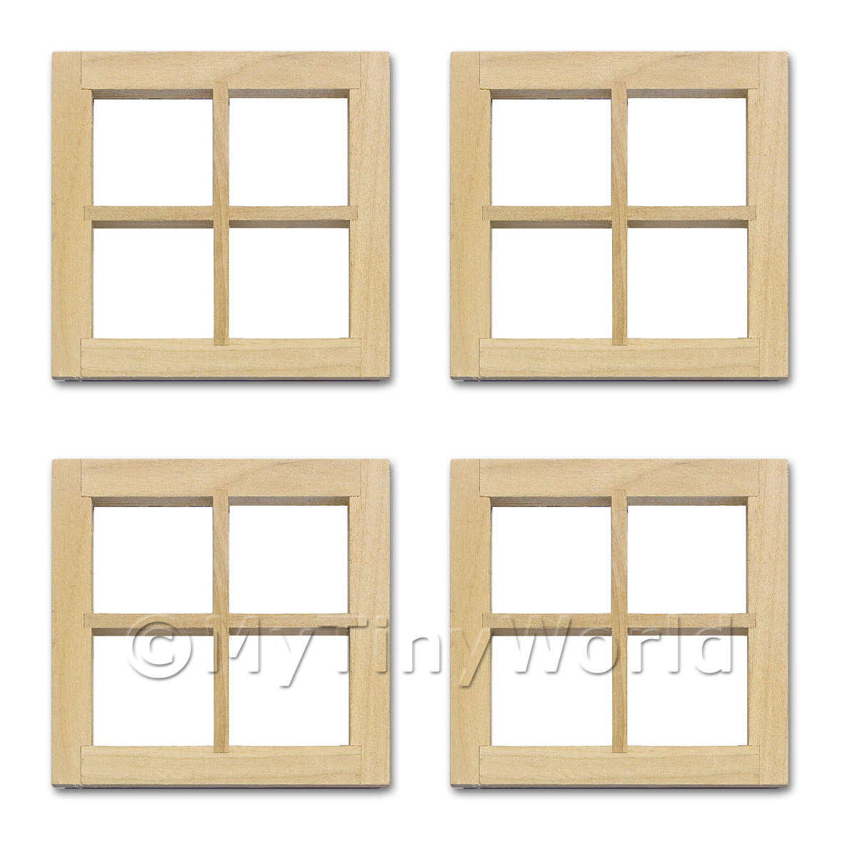 4 x Dolls House Miniature Plain 4 Pane Wood Window
