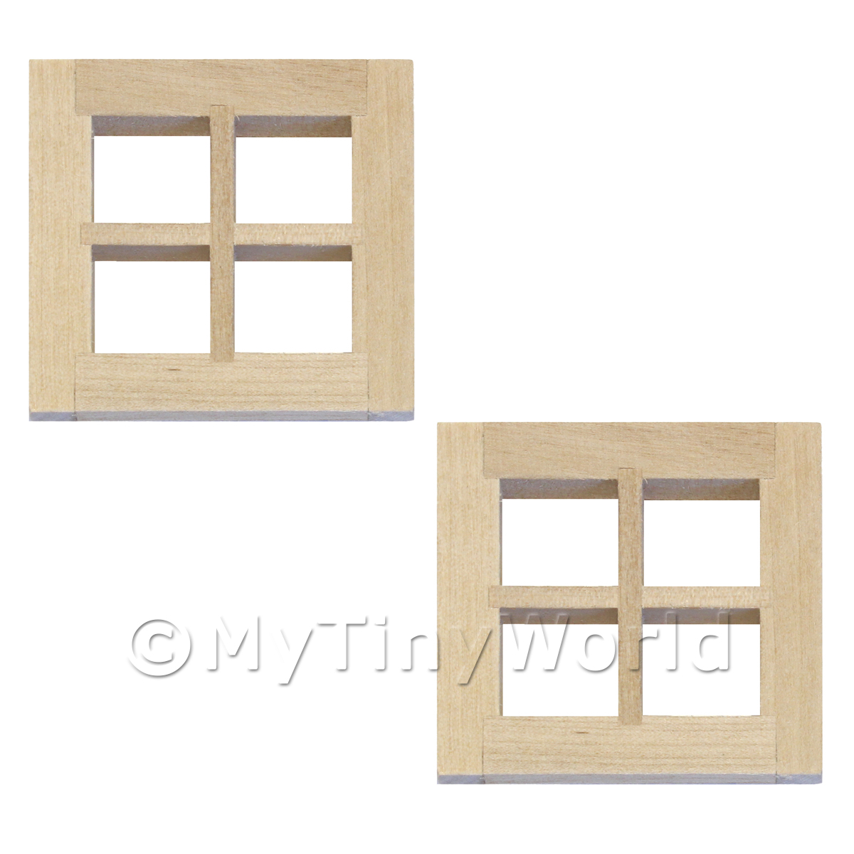 Pair Of Dolls House Miniature Small Square 4 Pane Wood Windows
