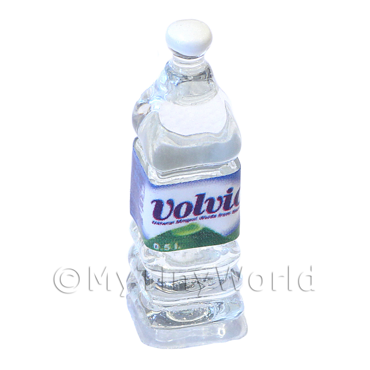 Dolls House Miniature Large Volvic Brand Square Water Bottle