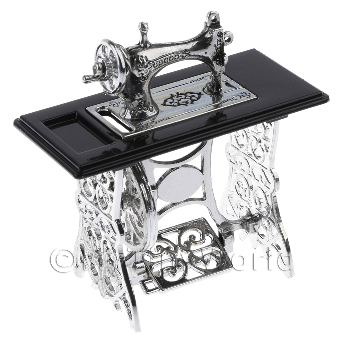 Dolls House Silver Metal Sewing Machine With Black Metal Top