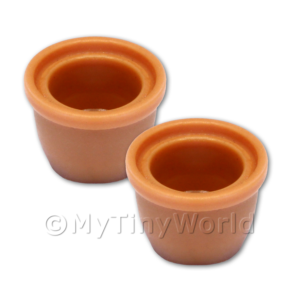 Pair of Dolls House Miniature Terracotta Style Resin Flower Pots - Style 6