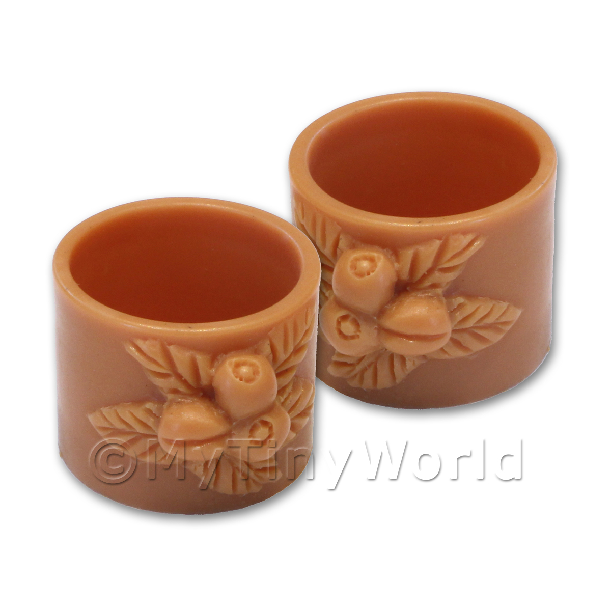 Pair of Dolls House Miniature Terracotta Style Resin Flower Pots - Style 7