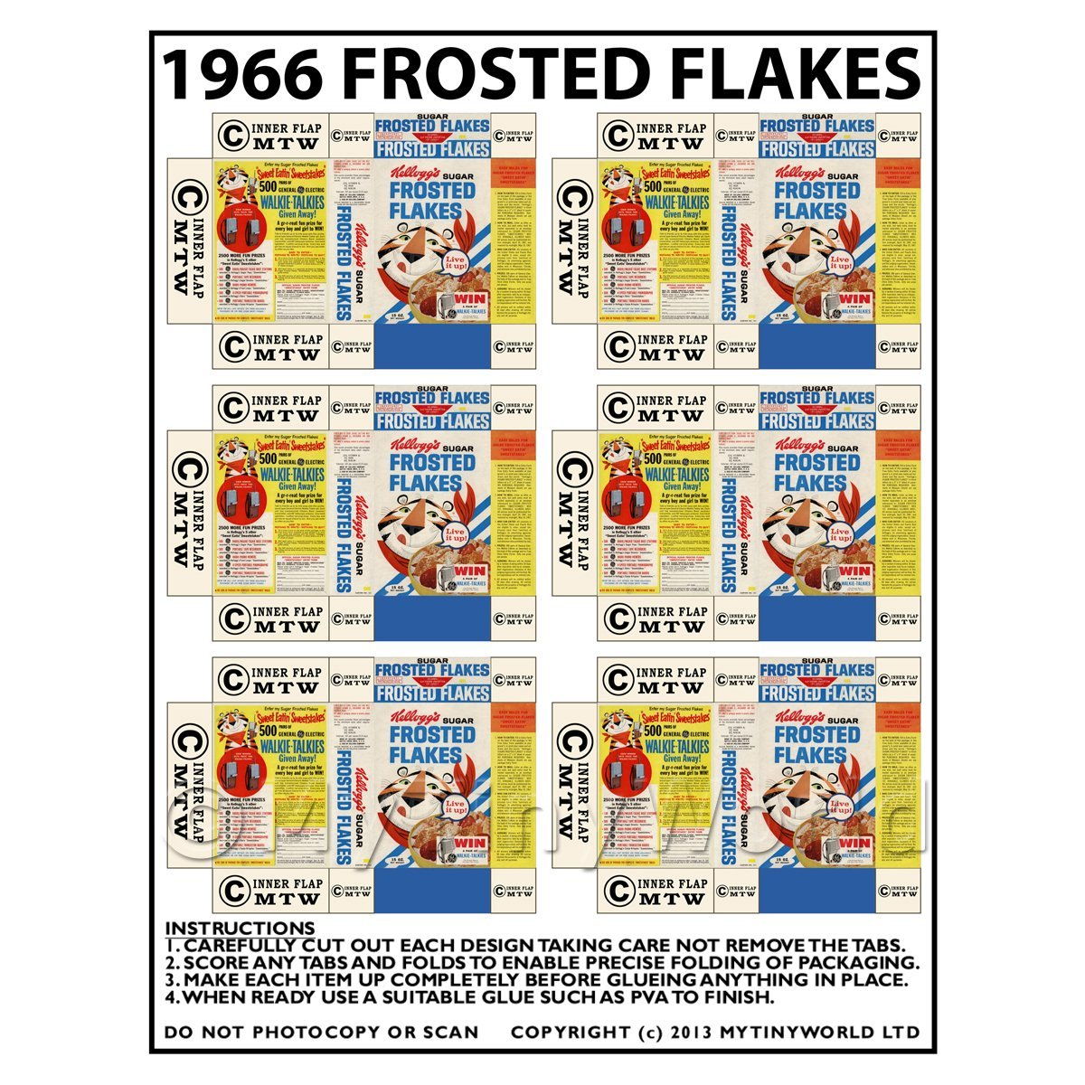 Dolls House Miniature Packaging Sheet of 6 1966 Frosted Flakes