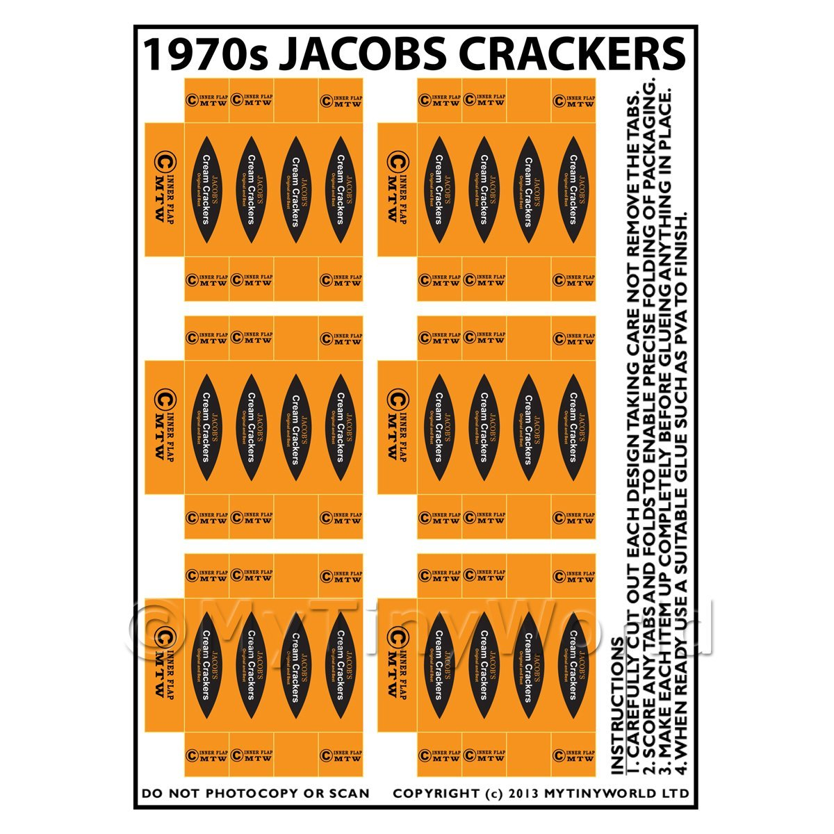Dolls House Miniature Packaging Sheet of 6 1970s Jacobs Crackers