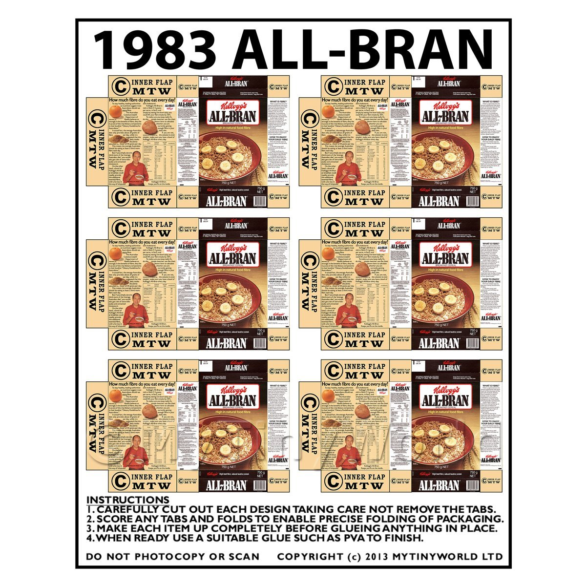 Dolls House Miniature Packaging Sheet of 6 1983 All-Bran