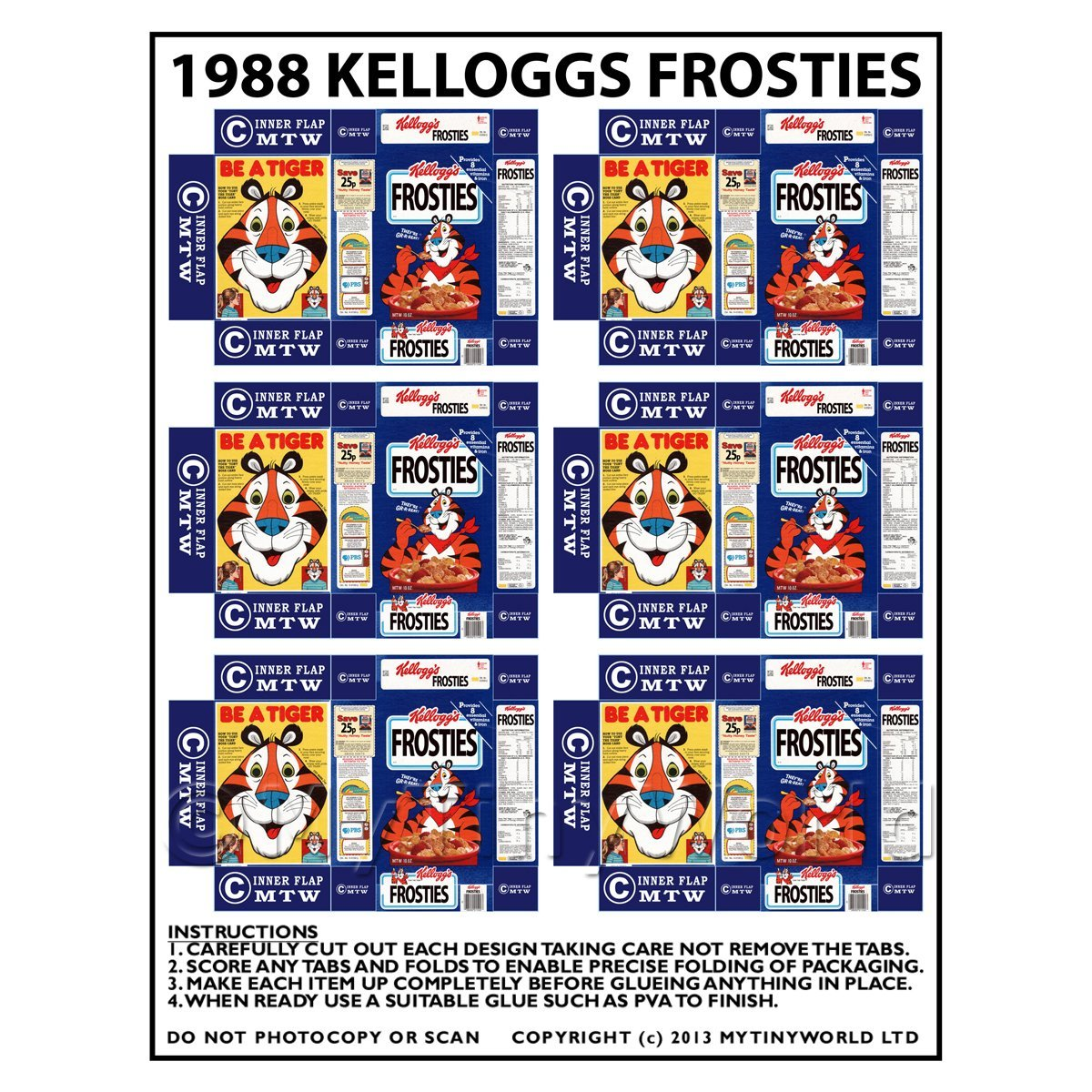 Dolls House Miniature Packaging Sheet of 6 1988 Kelloggs Frosties