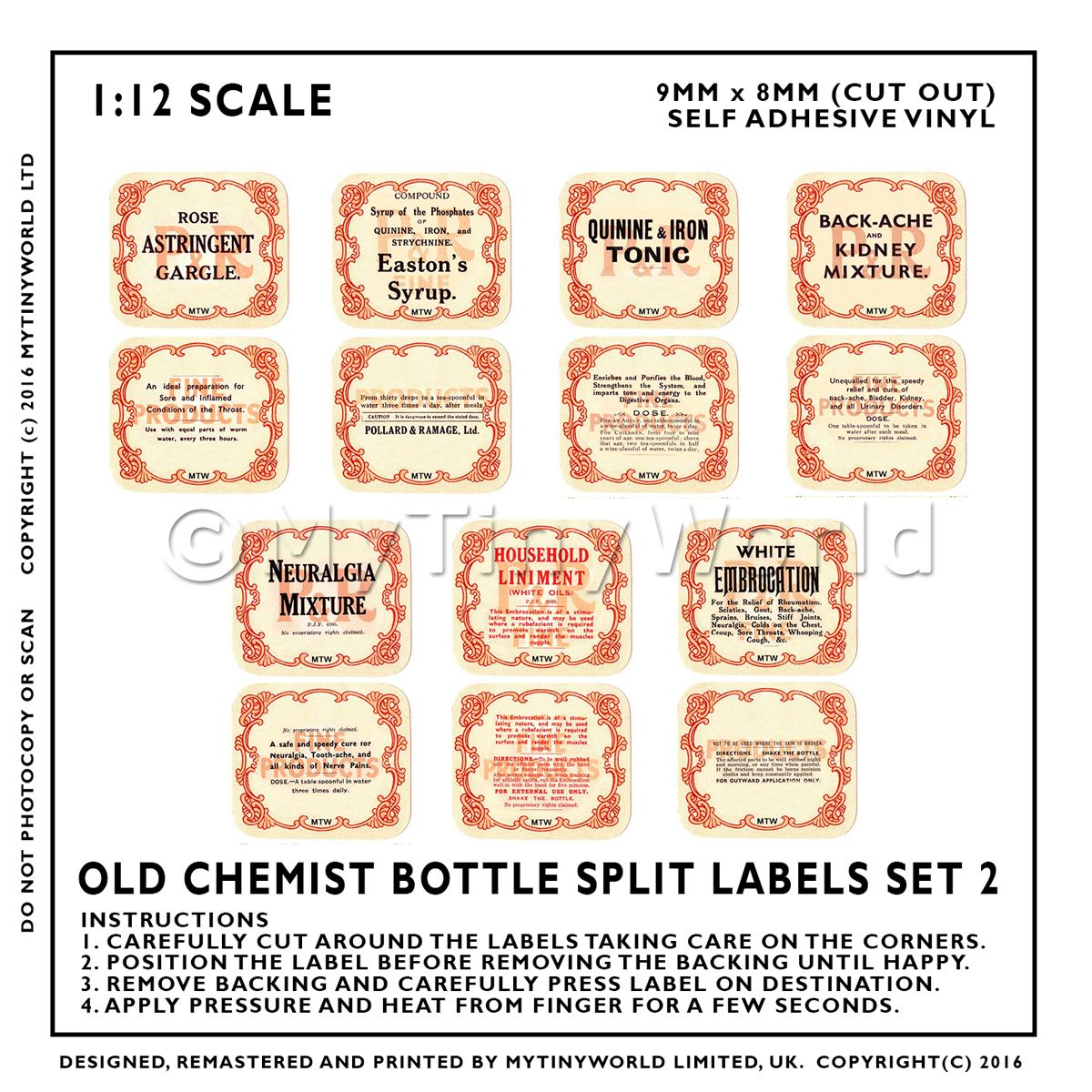14 Dolls House Different Miniature Apothecary Labels Set 2