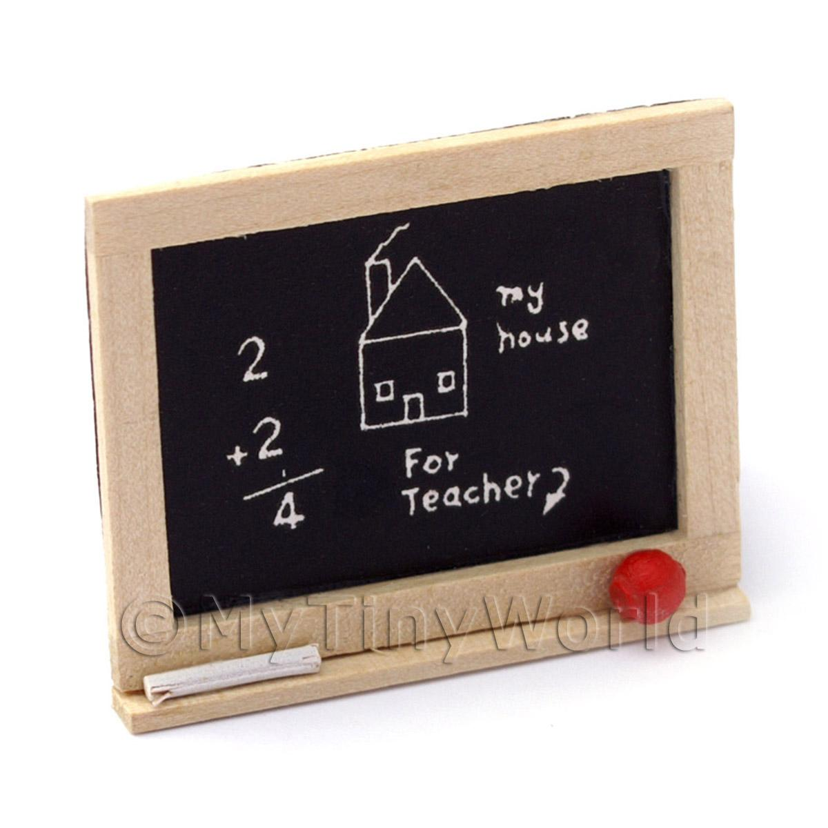 Dolls House Miniature Childrens Wooden Chalkboard