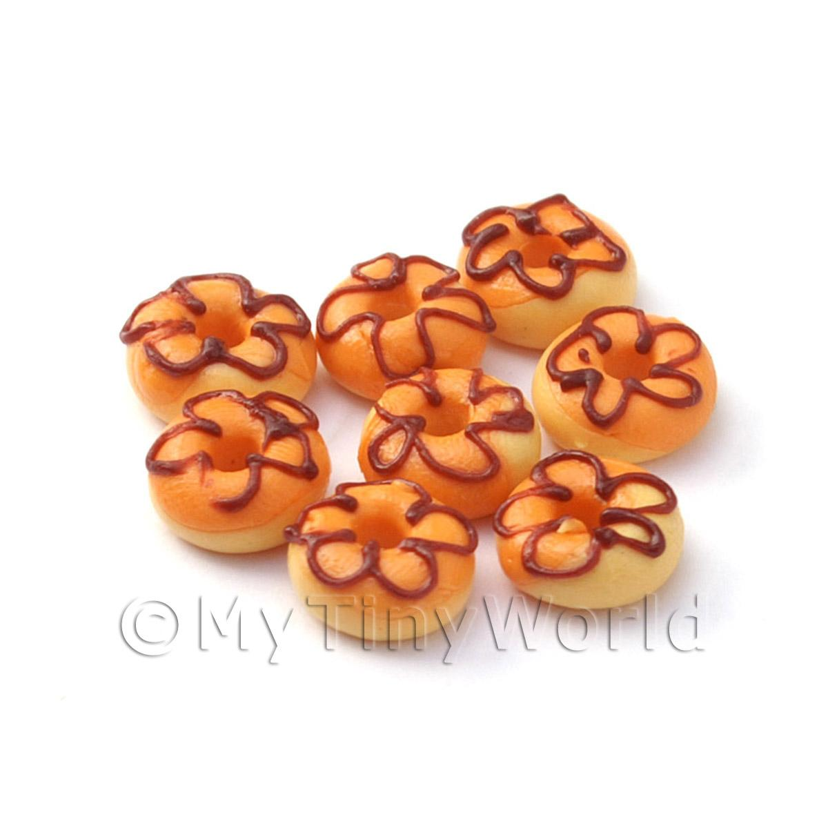 Dolls House Miniature Orange Iced Flower Donut