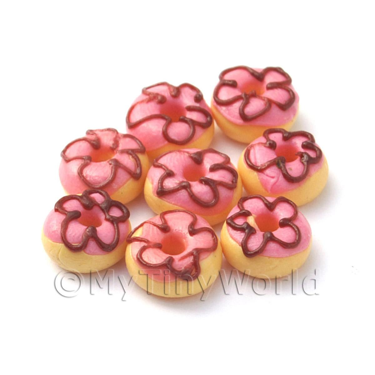Dolls House Miniature Pink Iced Flower Donut