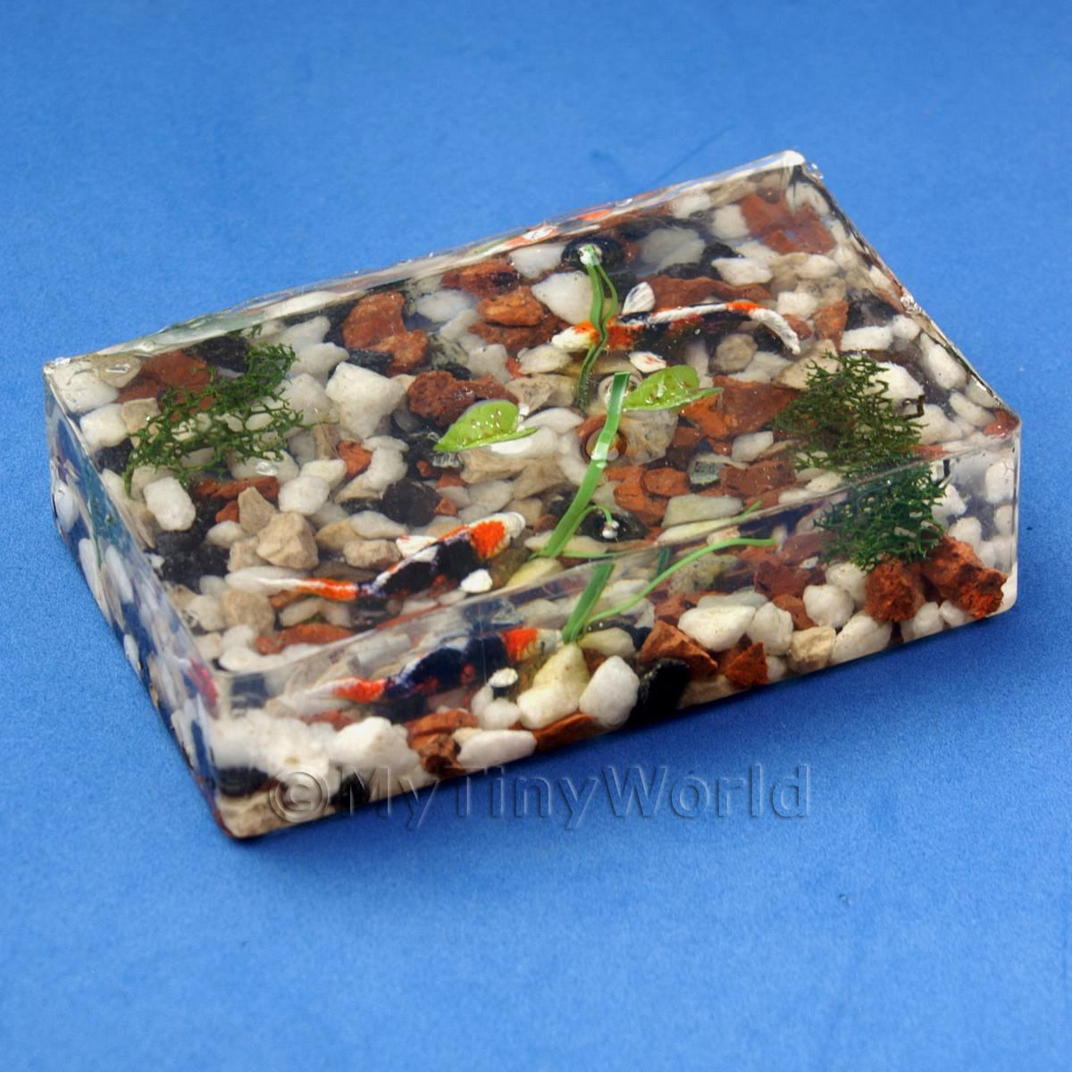 Dolls house Miniature Rectangular Koi Karp Pond