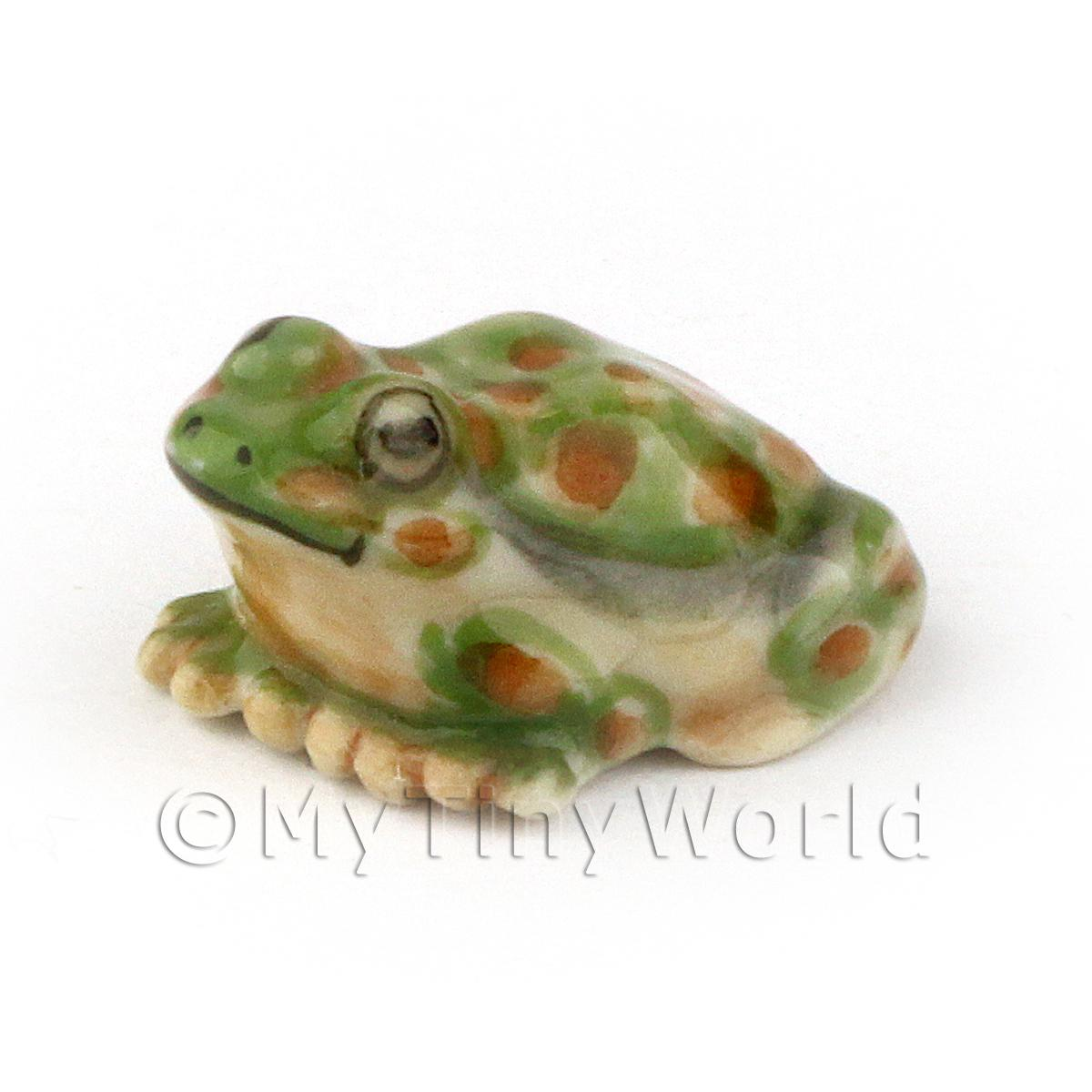 Dolls House Miniature Ceramic Dolls House Miniature Green Spotted Toad