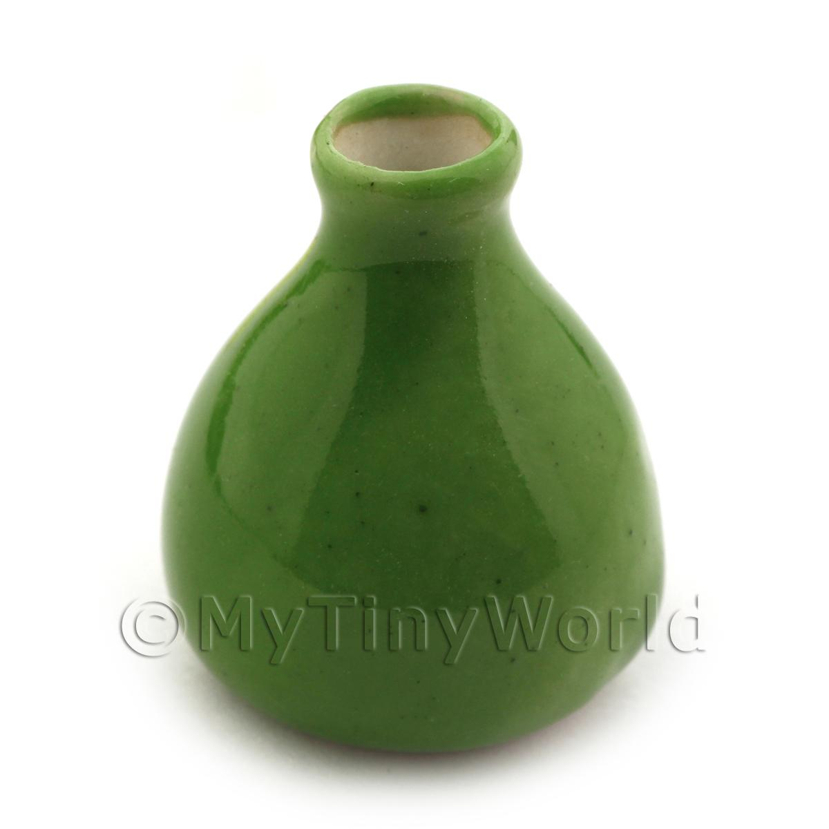 17mm Dolls House Miniature Green Vase